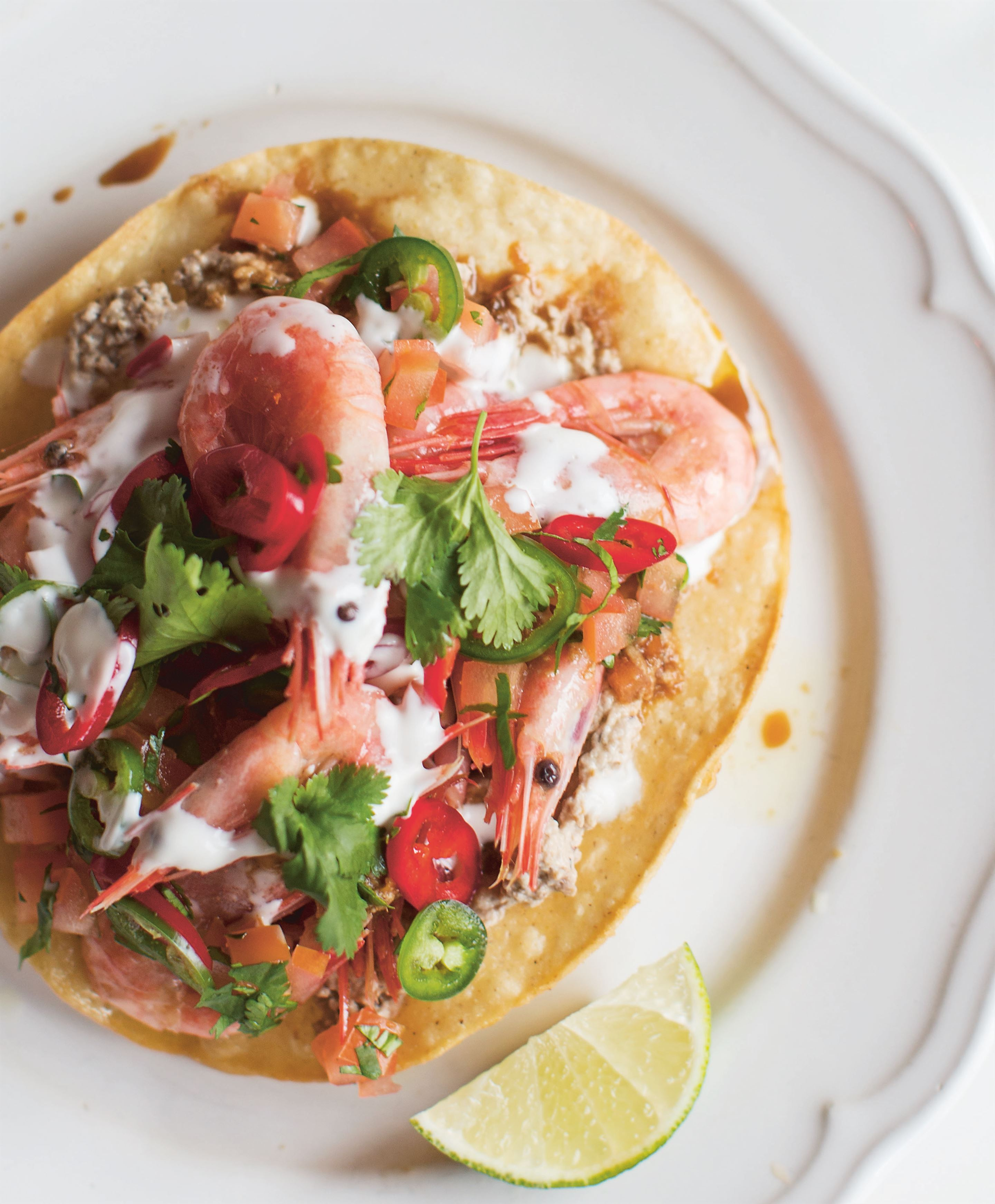 Pickled shrimp tostadas with salsa borracha